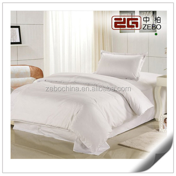 5 Star Hotel Used Pure Cotton Sateen Fabric Queen Size White Hotel Bedding Sets