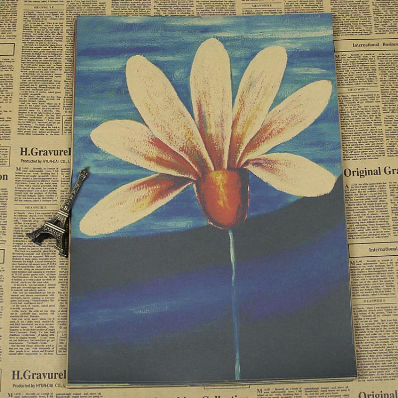 Free shipping TT-054 high quality Retro vintage poster Kraft paper retro flowers paper wall sticker art craft home decor