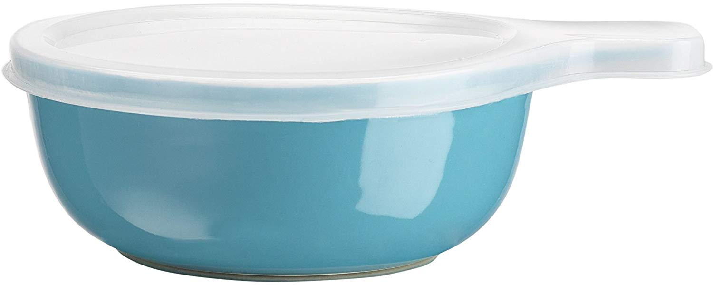 Home Essentials & Beyond Home Essentials Storage Essentials 16 oz Round Baker with Handle & Lid, Aqua, Clear