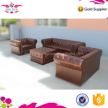 Whole Qingdao Sinofur Customizable Used Fabric Leather Chesterfield Sofa Set Replica