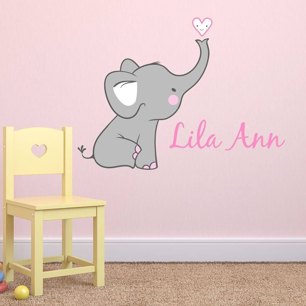 S Nursery Elephant Custom Personalized Name Wall Decal Small Decals Elephants