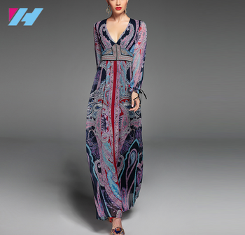 wholesale summer long dress women high quality casual party dresses Deep V neck long sleeve floor length casual maxi dress