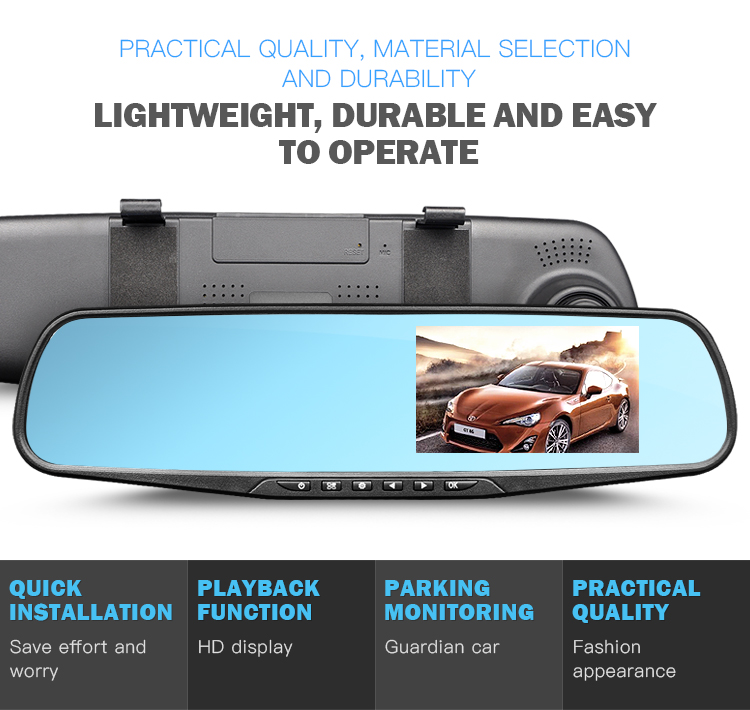 Best Price Full Hd 1080p Night Vision G-sensor Dash Cam With Dual Lens Video Recorder Side Rearview Mirror Camera