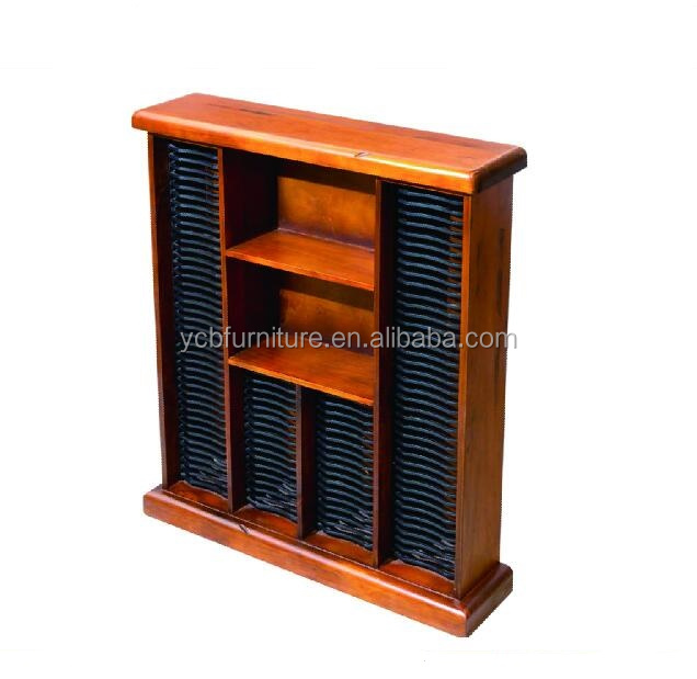 living room furniture solid radiate pine wooden antique 4 rows CD rack with storage case