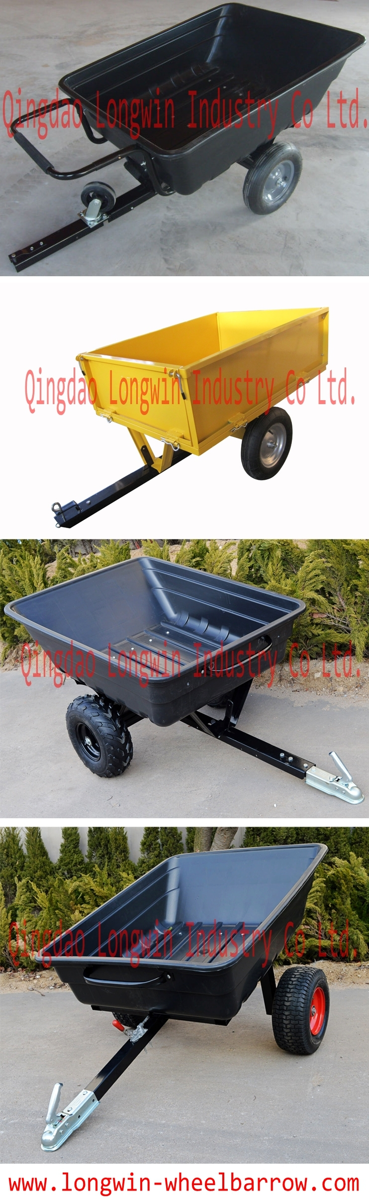 Heavy duty ATV trailer wagon with Extra Thick Polyethylene Bucket