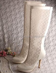 Lace Wedding Boots Heel Shoes for Bride