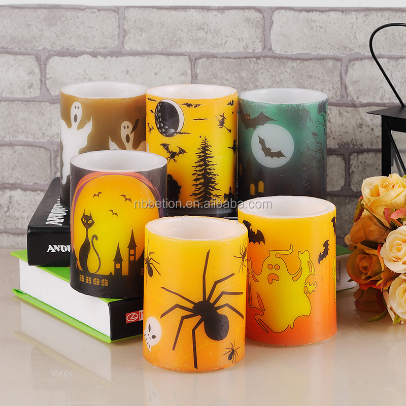 led flameless candles halloween led flameless flickering real wax candles halloween printed wax led candle