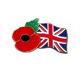Custom United Kingdom hard enamel poppy flower lapel pins