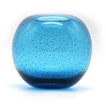 Custom Process Flow Blue Import Art Hand Blown Glass Ball Vase