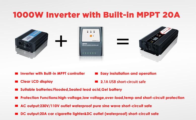 1000w Dc Ac Car Solar Power Inverter With 20a Mppt Controller - Buy Solar  Power Inverter,Dc Ac Power Inverter,Power Inverter With Mppt Controller