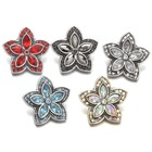 Wholesale jewelry accessories 18mm alloy flower star shape bulk rhinestone snap button