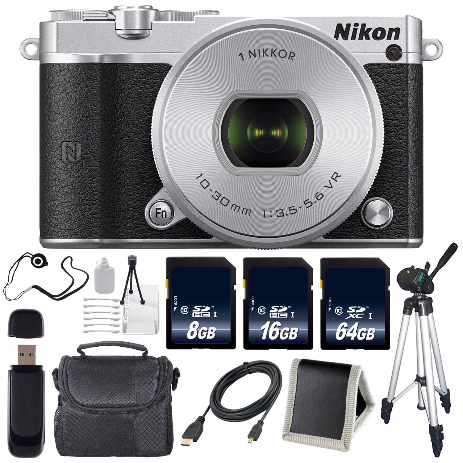 Nikon 1 J5 Mirrorless Digital Camera with 10-30mm Lens (Silver) (International Model) No Warranty + Tripod + Carrying Case + Micro HDMI Cable + SD Card USB Reader + Memory Card Wallet Bundle