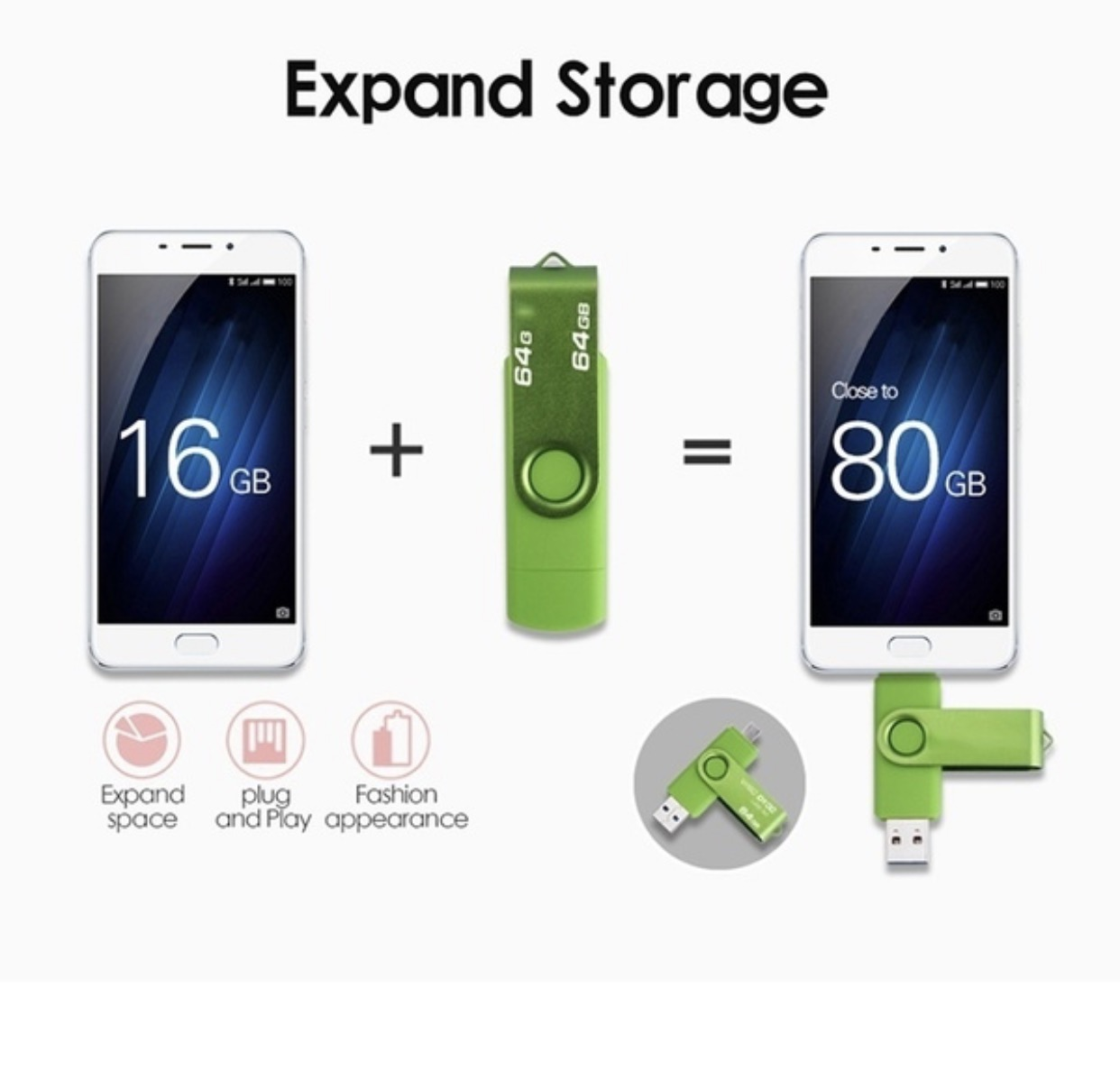 The factory produces custom usb flash drive android phone with otg adapter Direct Price