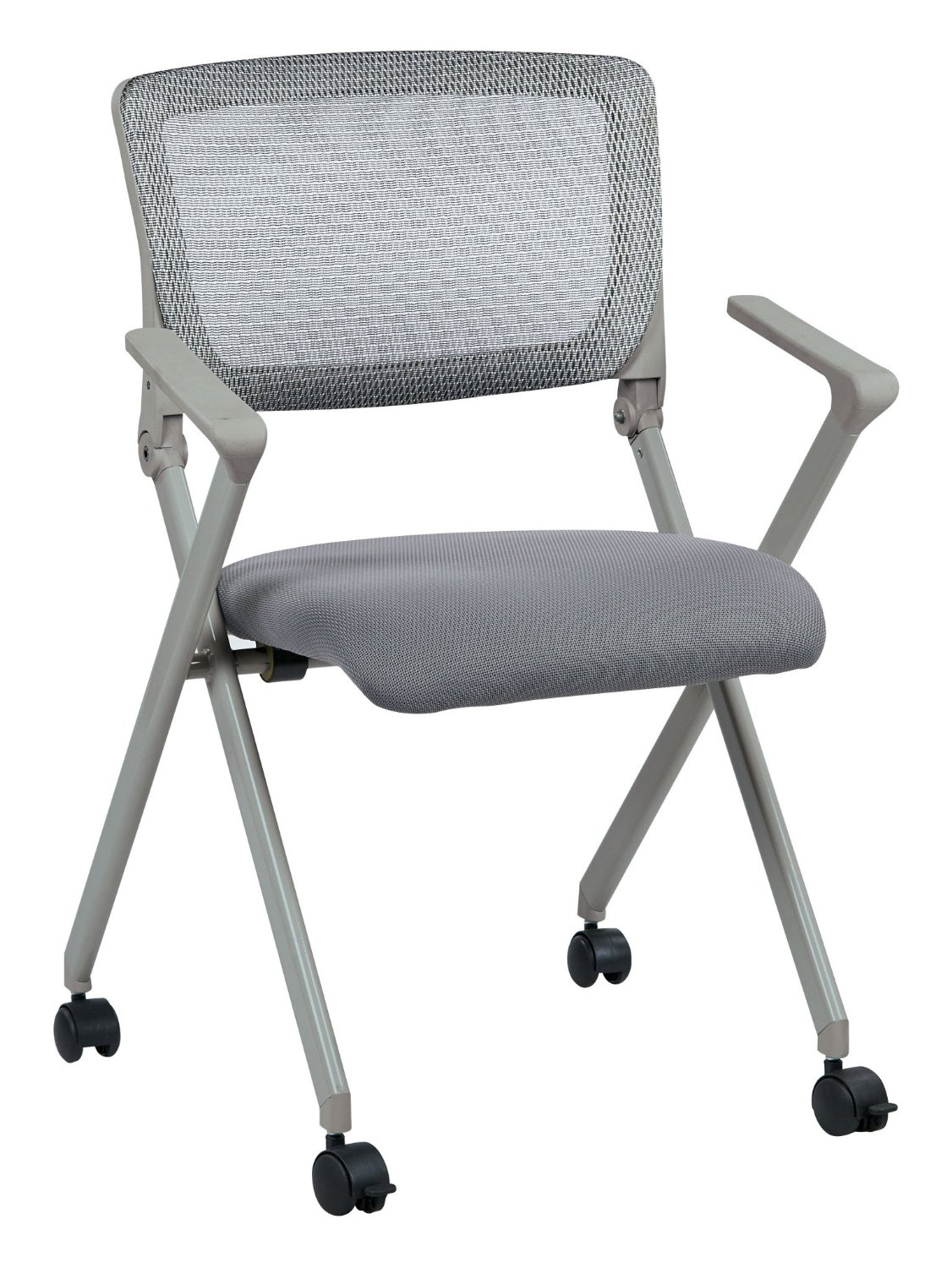 Office Star Breathable Flexible Mesh Back Folding Nesting Chair with Padded Fabric Seat and Casters, 2-Pack, Grey
