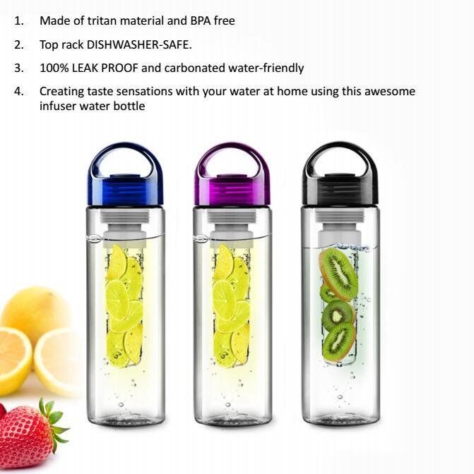 600 مللي فريدة من نوعها Bpa الحرة تريتان يساعد على تحلل الفاكهة زجاجة المياه الرياضية