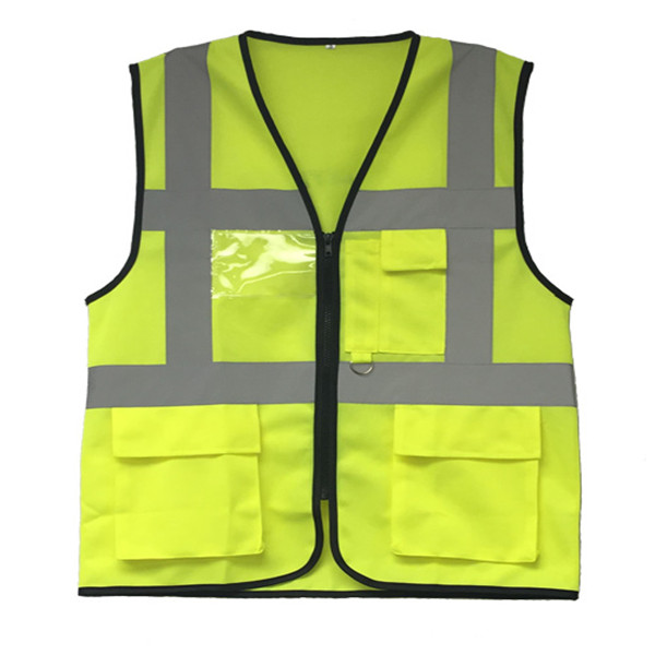 high visibility fluorescent yellow custom security vests reflective with pocket