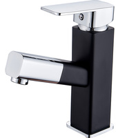Hot Cold Water Tap Wash Basin Pull Out Black and silver basin Faucet