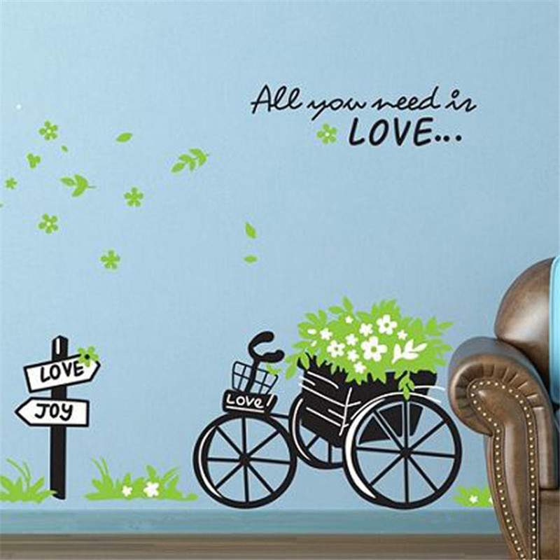 Fresh Nature Green Bicycle Wall Sticker Decal DIY Love Encounter Romantic Art Home Decor drop shipping on sale