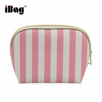 Pink And White Stripe PU Leather Makeup Cosmetic Essential Bag Zip Top Pouch