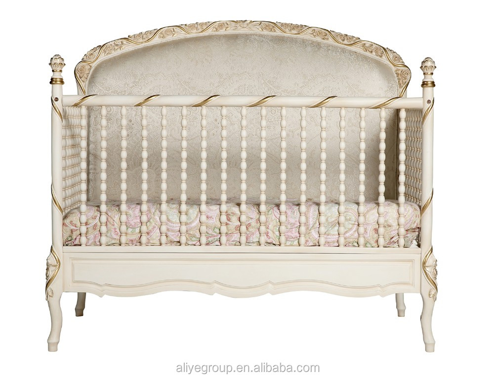 AK28  Wooden Baby Furniture And Antique Ivory And Golden Color Wooden Swing  Baby Cradle Bed