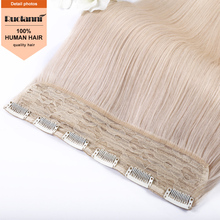 High quality brazilian human hair extensions double drawn blonde clip in hair extension