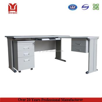 Steel Leg L Shape Steel Office Desk With Side Storage Cabinet Top Computer  Desk Top Boss