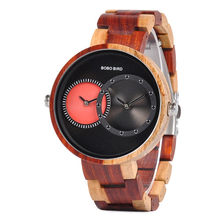 BOBO BIRD/деревянные часы с несколькими часовыми поясами для мужчин и женщин; модные роскошные деревянные наручные часы; часы reloj hombre; Прямая пос...(Китай)