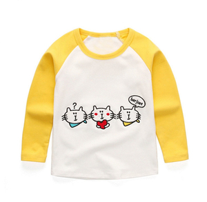 Children Clothes Graphic Colorblock Baby Tee Shirt Cotton Girl Raglan Sleeve Tee