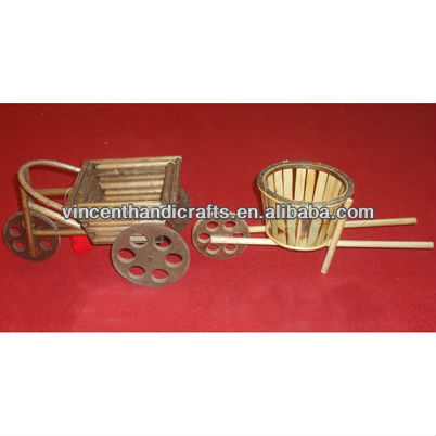 Bamboo gift basket with wheels car design basket