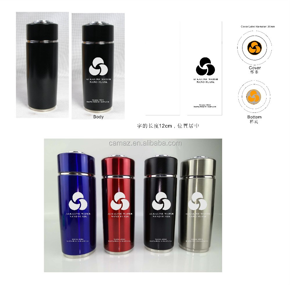 Wholesale Drink Water Bottle tourmaline energy Alkaline Stainless Steel Flask with Filter 400ML . OEM Logo.
