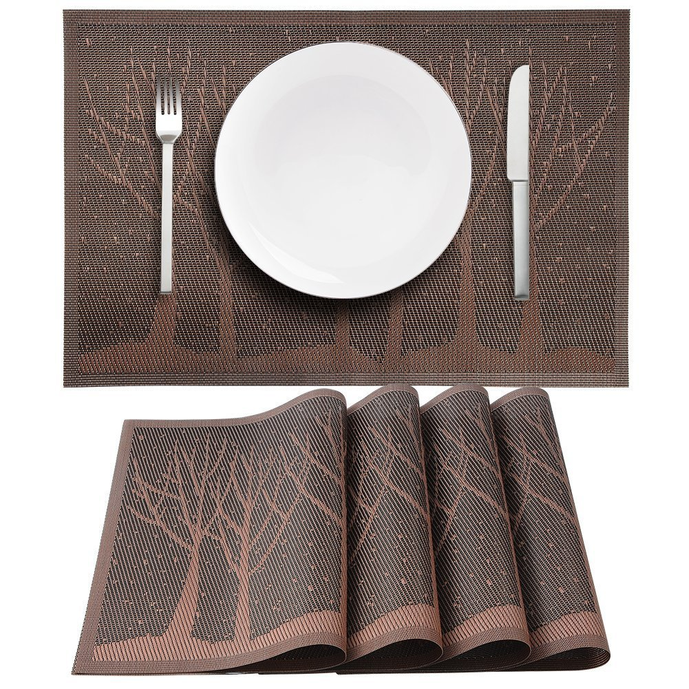 ByYouLike Polyester Tree Table Placemat Crossweave Woven Vinyl Insulation Non-slip Spillproof Place Mats Washable Table Mats for Dining Room Home Decor,4 Pcs (Coffee)