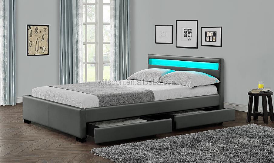 de stockage double taille multi couleur led blanc doux pu. Black Bedroom Furniture Sets. Home Design Ideas