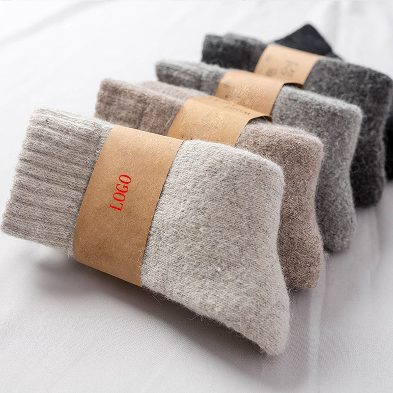 Winter Comfortabele Zachte Custom Dikke Warme Heren Vrouwen Schapen Wollen Sokken Thermische Dikke Breien Sokken Logo Calcetines