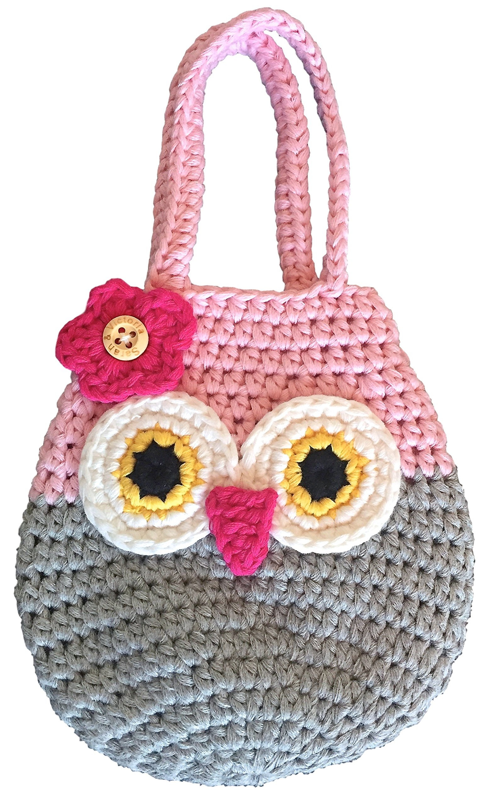 Happy Owl Mini Handbag, Best Gift For Little & Young Girls, Cute Pink & Grey Purse, Handmade Crochet, Soft Yarn, Wristlet For All Ages, Dress-Up & Play Or Use As Cell Phone Case Holder & Pouch