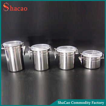 Set Of 4 Airtight Clip Top Food Storage Container Stainless Steel Spice Jar  With Acrylic Lids