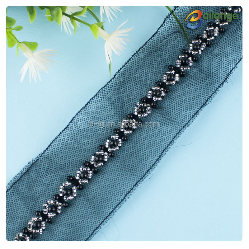 100% Inspection Bailange Garment accessories Wholesale beaded rhinestone trim appliques