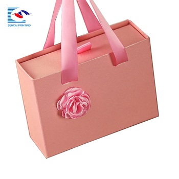 Custom made cardboard paper box packaging silk scarf gift box with ribbons handle