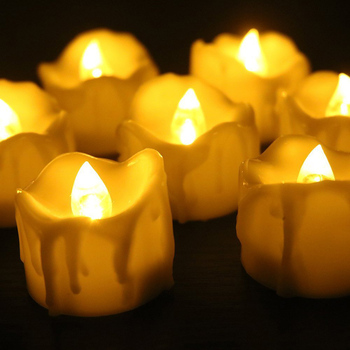 Flickering Flame Less Led Tea Light Candles With Timerwax Dripped