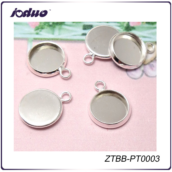 Newest Bright Silver Copper Blank Pendant Trays 10-20mm, Flat Round Cabochon Settings,Base Metal Bezel ZTBB-PT0003
