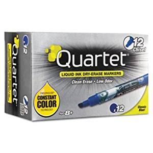 QUARTET MFG 50013M EnduraGlide Dry Erase Markers, Chisel Tip, Blue, Dozen