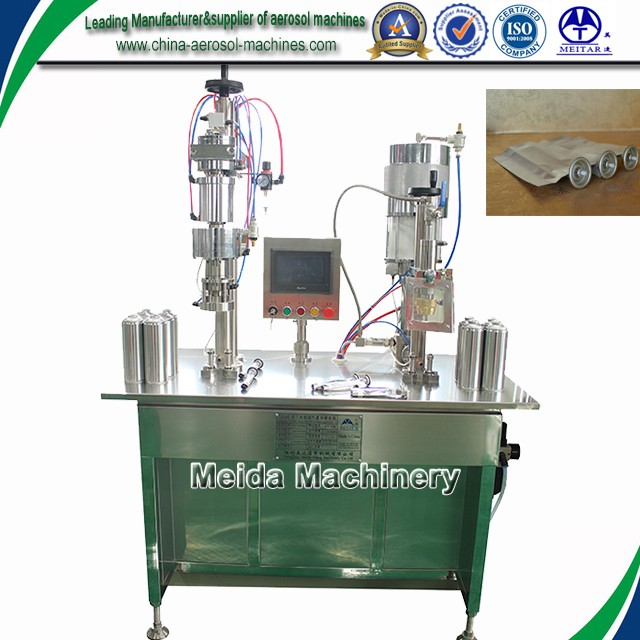 BOV semiautomatic aerosol filling machine which is specially used for water based aerosol products