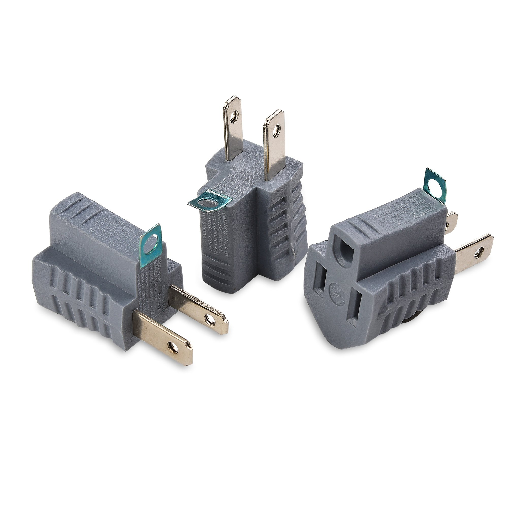 Cheap 3 Prong Grounding Adapter Find Polarized Outlet Wiring Get Quotations Cable Matters Pack In Grey To 2