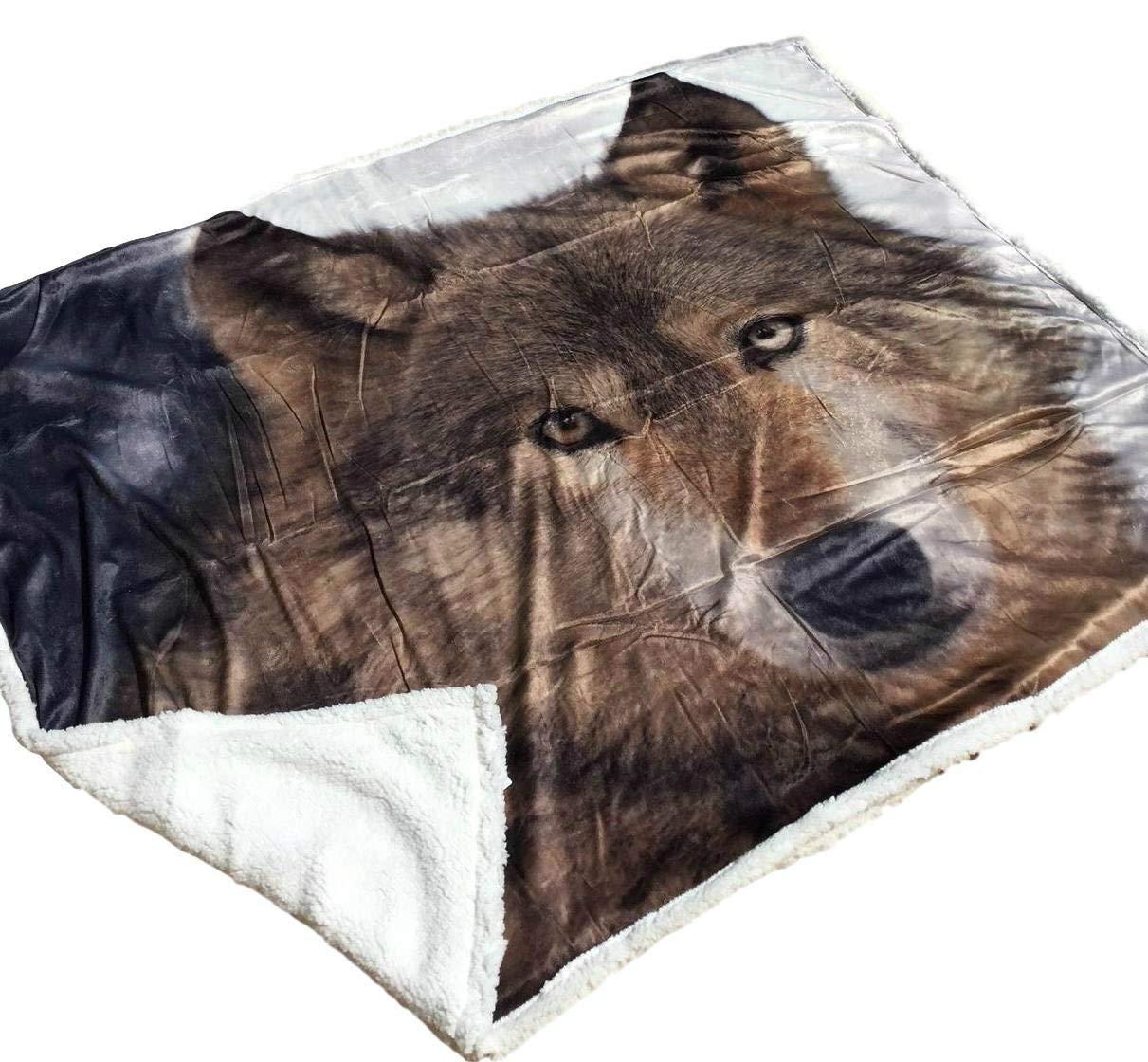 Solaron Original Pack of Wolves Korean Mink Soft Plush Queen Size Blanket Green