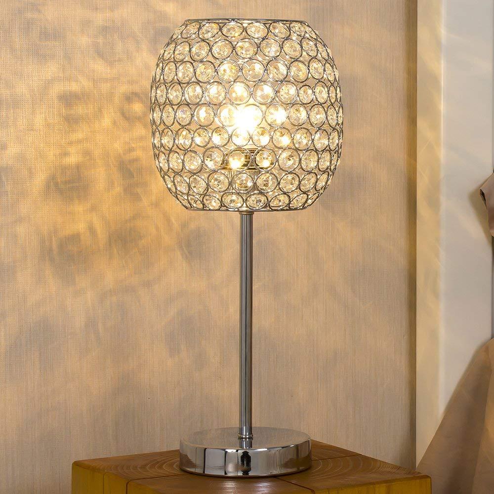 "SOTTAE Elegant Fashionable Desk Lamp Chrome Finish Clear Crystal Table Lamp, 16"" Decorative Beside Lamp For Living Room Bedroom"
