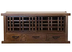 """Tansu TV Cabinet, Solid Walnut Cabinet, Sliding Doors, Large drawers, 65"""" wide x 21"""" deep x 26"""" high"""