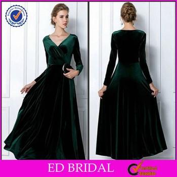 2015 New Arrival Elegant Emerald Green Long Sleeve Velvet Evening ...