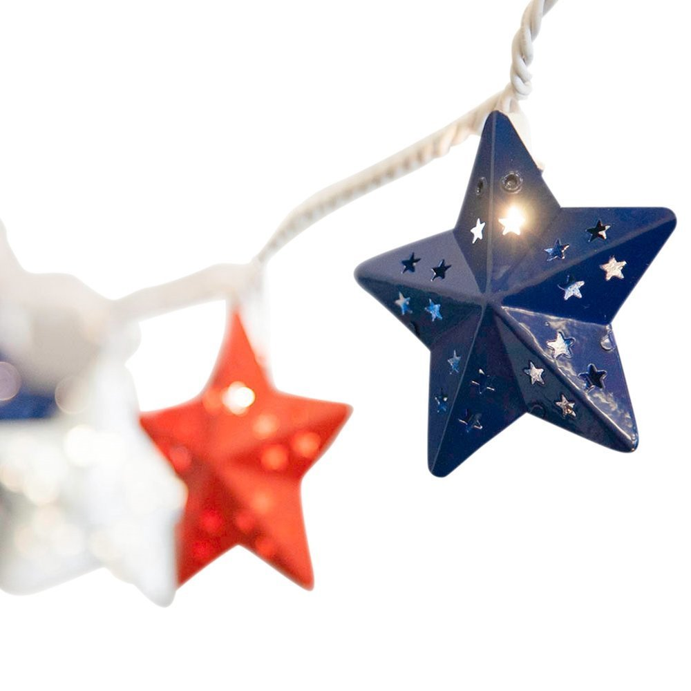 Star String Lights, 10 Patriotic Stars, 5.5 Foot White Wire, Plug In, Patriotic Lights, Red, White, Blue, Metal Star Covers, Incandescent Warm White Fourth of July, Celebration, Festival, Holiday