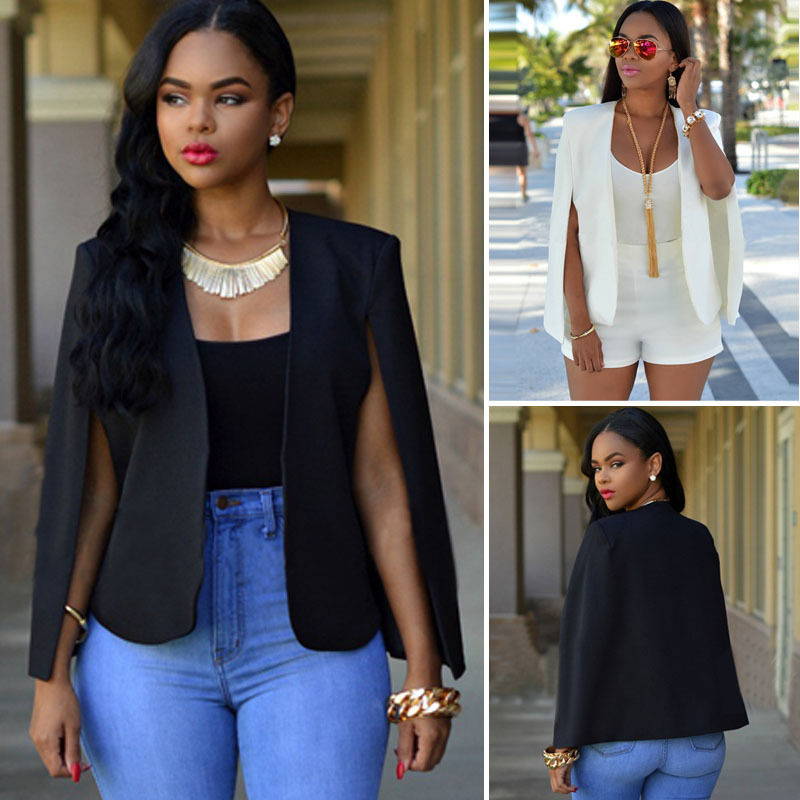 61f17b68d20 Detail Feedback Questions about Fashion Women Slim Lapel Cape Casual  Business Suit Summer Jacket Coat Outwear Black White on Aliexpress.com |  alibaba group