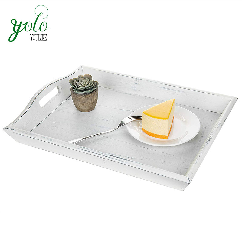 Wholesale Elegant Vintage 100% High Quality Easy Carry White Tray Rustic Serving Wood