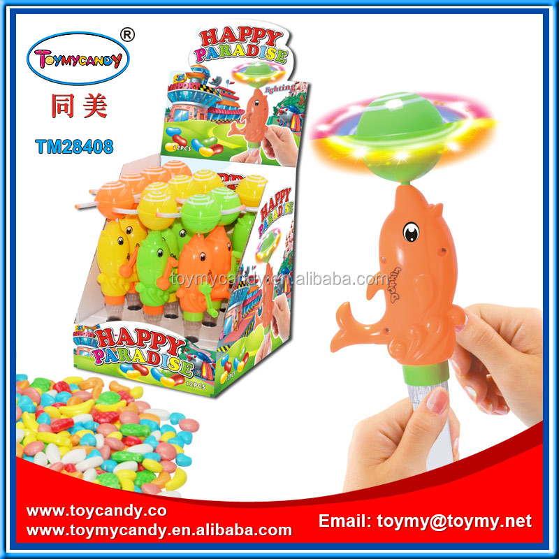 New toy for 2016 music dolphin toy with candy flash toy good promotion gift for kids
